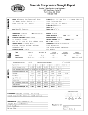 Concrete Cylinder, Beam and Mortar Cube Strength Reporting